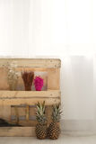 Ananassen en droge installatiesdecoratie royalty-vrije stock afbeelding