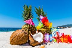 Ananassen en kokosnoten op het zand Stock Foto