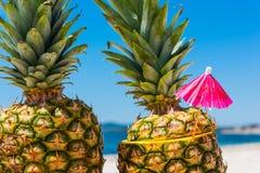 Ananassen met cocktailparaplu Stock Fotografie