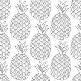 Ananassen, tropische vruchten Zwart-witte illustratie voor het kleuren van boek Zoet, gezond dessert en voedsel royalty-vrije illustratie