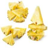 Ananasskiva som isoleras på vit Samling Royaltyfria Foton