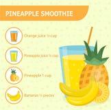 Ananassmoothierecept med ingredienser vektor illustrationer