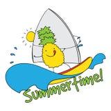 Ananaswindsurfen-Sommerzeitillustration Stockbilder