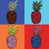 ananasy egzotyczne owoce tropikalne nakreślenie wzór zdjęcia stock