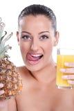 Ananasy smakowity sok Obrazy Royalty Free