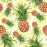 Ananasy z geometrical formami na żółtym tle Obraz Royalty Free