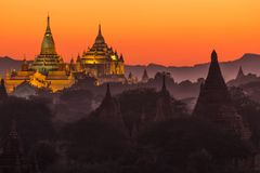 Ananda pagoda at dusk Stock Image