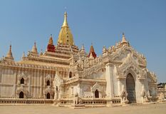 Ananda Temple in Old Bagan, a large buddhist temple, one of Bagan`s best known temples. One of the most beautiful temples in the royalty free stock image