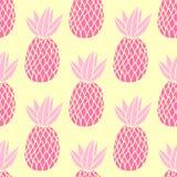 Ananors på den vita bakgrunden Sömlös modell för vektor med tropisk frukt Gullig flickastil, rosa färger och guling Arkivbilder