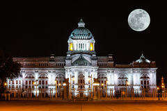 The Ananta Samakhom Throne Hall Phra Thinang Anantasamakhom in Thai Royal Dusit Palace with super moon  in the night time Stock Photos