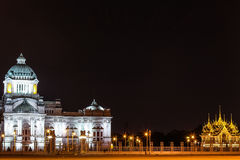 The Ananta Samakhom Throne Hall in Thai Royal Dusit Palace in the night time, Bangkok, Thailand. Royalty Free Stock Photo