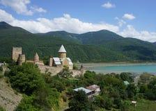 Ananuri修道院城堡视图 图库摄影