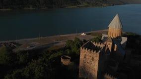 Ananuri复杂空中录影 Ananuri ffortress和zhinvali湖在乔治亚 影视素材