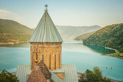 Ananuri ancient church castle in Georgia. Evening. Stock Photo