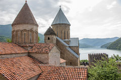 Ananuri Castle, a castle complex on the Aragvi River in Georgia.  Royalty Free Stock Images