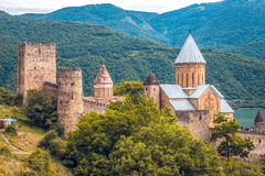 Ananuri Castle, a castle complex on the Aragvi River in Georgia.  Stock Photography