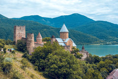 Ananuri Castle, a castle complex on the Aragvi River in Georgia.  Royalty Free Stock Photos