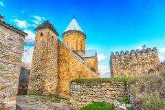 Ananuri castle complex on the Aragvi River in Georgia. Ananuri church on the Aragvi River in Georgia, Europe Stock Photography