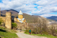 Ananuri castle complex on the Aragvi River in Georgia. Ananuri, Georgia - April 26, 2017: Ananuri castle complex on the Aragvi River in Georgia, Europe Stock Photo