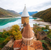 Ananuri castle fortress complex, Georgia. Georgian landmarks. Ananuri castle fortress complex on the Aragvi River in Georgia. The view from the tower. Georgian Stock Image