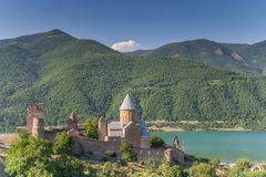 Ananuri church  complex on the Aragvi River. In Georgia Stock Photo
