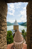 Ananuri fortress complex at Aragvi river in Georgia. Landscape of summer in Ananuri fortress complex at Aragvi river in Georgia Royalty Free Stock Photos