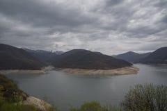 Ananuri water reservoir panoram view stock photos