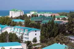 Anapa city. Looking to Parus hotel on Black sea. From the hill Royalty Free Stock Photography