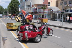 Anapa city. Old motorbike model on the street Royalty Free Stock Photos
