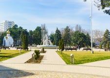 Anapa, Krasnodar Krai Rosja, Marzec, - 08 2017: kwadrat w centrum miasto blisko miasto administraci Zdjęcie Royalty Free