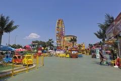 Children amusement park `Sunny Island` in the resort village of Dzhemete, Anapa Stock Photos