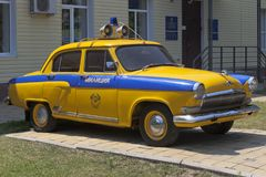 Police car GAZ-21 `Volga` in front of a company of traffic police in the village of Dzhemete, Anapa Stock Photography