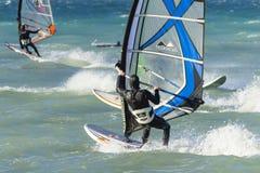 Anapa, Rosja, Grudzień 10, 2017: Windsurfing, sport rywalizacje Zdjęcia Stock