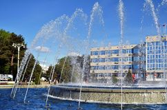 ANAPA, RUSSIA - APRIL 30: Working fountain in front of the resort town of Anapa administration building Stock Photos