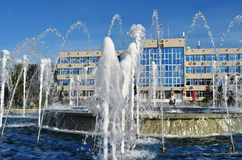 ANAPA, RUSSIA - APRIL 30: Working fountain in front of the resort town of Anapa administration building Royalty Free Stock Photography