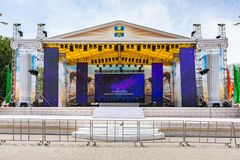 Anapa, Russia - June 8, 2019: The central stage at the Anapa Theater Square, prepared to celebrate the opening of the holiday. Anapa, Russia - June 8, 2019: The stock photography