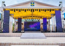 Anapa, Russia - June 8, 2019: The central stage at the Anapa Theater Square, prepared to celebrate the opening of the holiday. Anapa, Russia - June 8, 2019: The royalty free stock images
