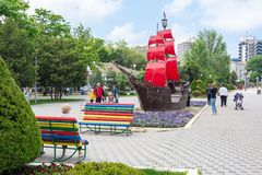 Anapa, Russia - May 13, 2019: Ship. `Scarlet Sails` on the embankment of Anapa,  Russia stock images