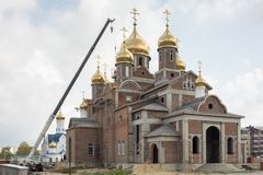 The construction of the church of the Orthodox parish of the Holy Equal-to-the-Apostles Church Royalty Free Stock Image