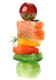 ?anape con los pescados de color salmón, apio, ramita del eneldo Fotografía de archivo