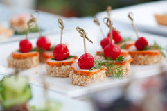 Сanape, luxury food for appetizer Royalty Free Stock Images