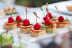 Сanape lyxig mat för aptitretare Royaltyfria Bilder