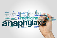 Anaphylaxis word cloud. Concept on grey background Stock Photography