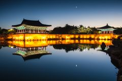 Anapji pond at dawn Stock Images