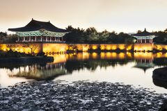 Anapji pond at sunset. Anapji pond in Gyeongju, South Korea. Sunset view of that magnificient palace Royalty Free Stock Photo