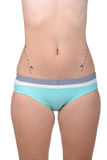Anaplasty. Body improving. Cropped image of female body with marks on abdomen royalty free stock photography