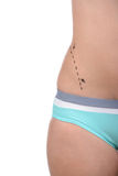 Anaplasty. Body improving. Cropped image of female body with marks on abdomen stock photography