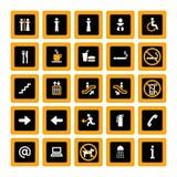 Anaranjado-blanco determinado del pictograma de interior en negro Fotografía de archivo libre de regalías