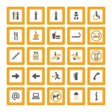 Anaranjado-gris determinado del pictograma de interior en blanco Fotos de archivo