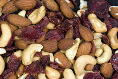 Anarcadiers, amandes, et canneberges sèches Photos stock